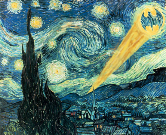 A version of Van Goh's Starry Night with the bat-signal shining into the sky in the place of the moon