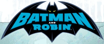 The words 'Batman and Robin' inside a stylised bat for the comic book