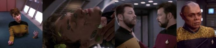 A sequence of mildy gruesome accidents caused by Star Trek technology. And Tuvix