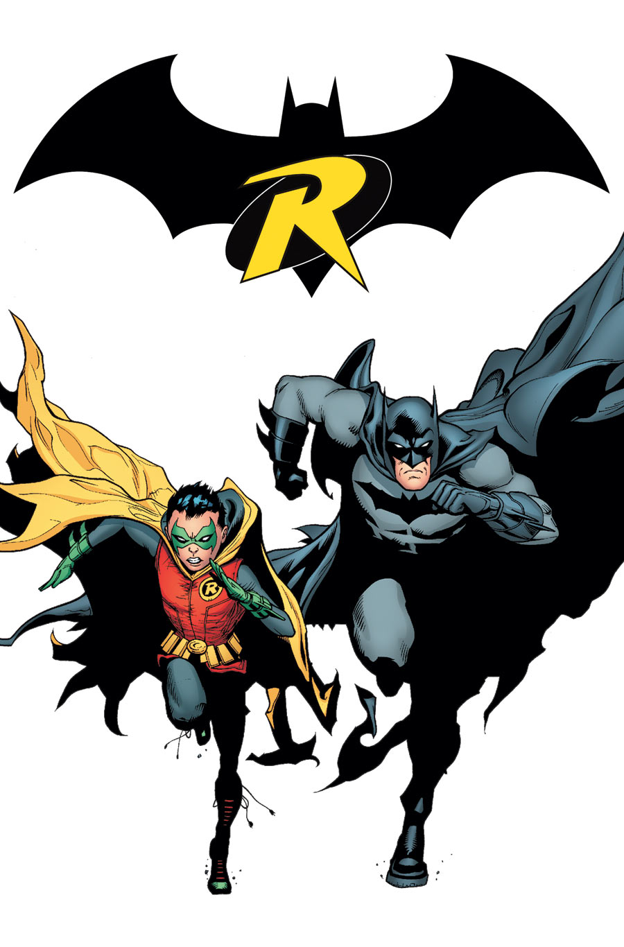 Cover for Batman and Robin 19 with Batman and Robin running towards the reader