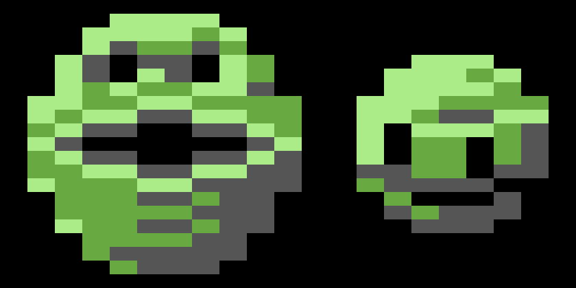 A blown-up version of the sprites for the Wizball and Cat from Wizball